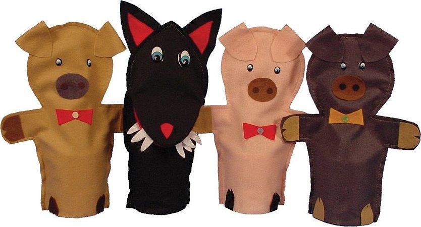 Fantoches Tres Porquinhos 4 Peças Simque