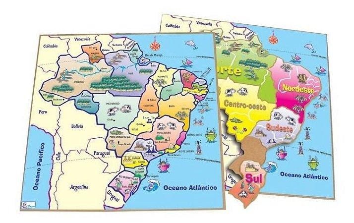 Jogo Educativo Quebra Cabeças Mapa Brasil Geografia Simque
