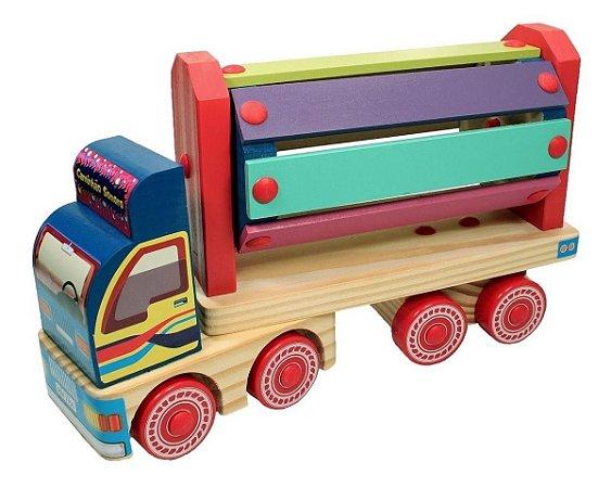 Caminhao Sonoro  De Madeira Brinquedo Carrinho Carimbras 18 Meses