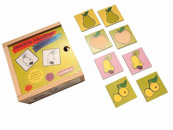 Jogo Da Memoria Educativo Pedagogico De Madeira Frutas Carimbras
