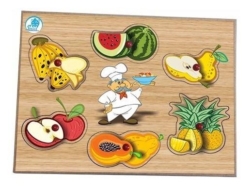 Quebra Cabeças Madeira Bebes Frutas Educativo Simque