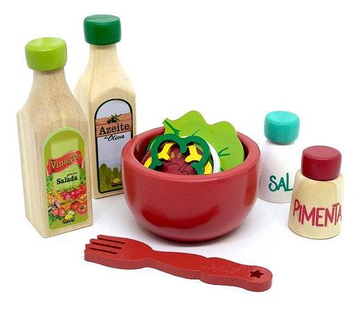Kit Salada Comidinha De Madeira Newart +3 Anos