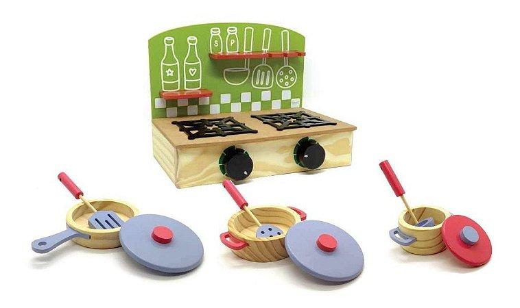 Mini Cooktop Fogao E Panelas De Madeira De Brinquedo Newart