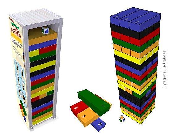 Torre Desafio Jogo Pedagógico Educativo de Madeira Carimbras +3