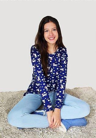 Pijama Unicórnio azul ml