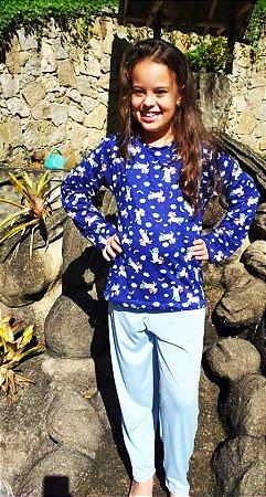 Pijama Infantil unicórnio azul ML