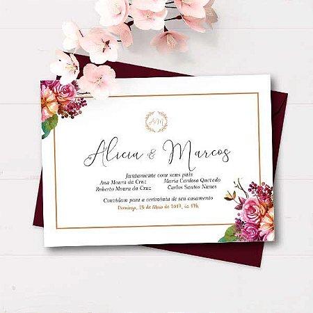 Convite Casamento Marsala - arte digital