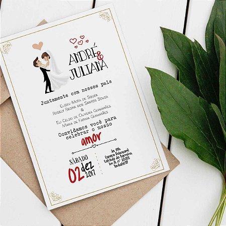 Convite Casamento Noivinhos- arte digital