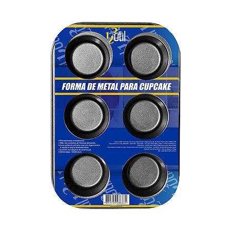 FORMA DE METAL COM 6 CAS PARA CUPCAKES 186 G