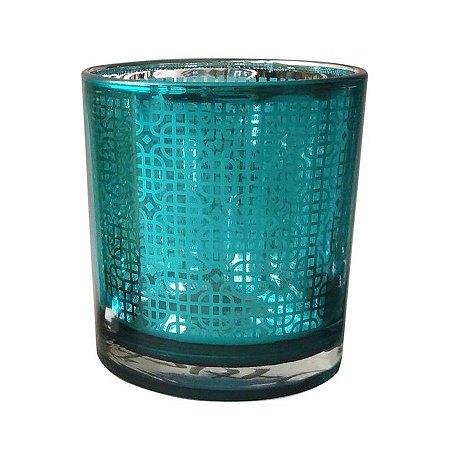 Castiçal Copo em Vidro Azul Brilhante