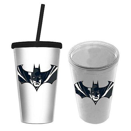 Copo Com Tampa E Canudo Do Batman - 450 ML - DC Comics
