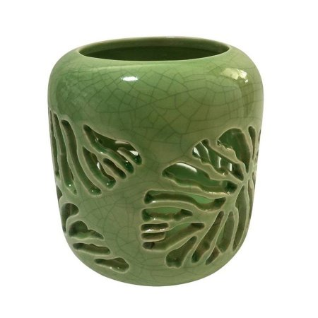 Castiçal Em Porcelana Folha Vazada - Verde - Urban