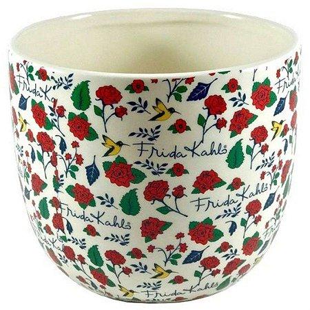 Cachepot Cerâmica Frida Kahlo Face Flowers Fundo Branco