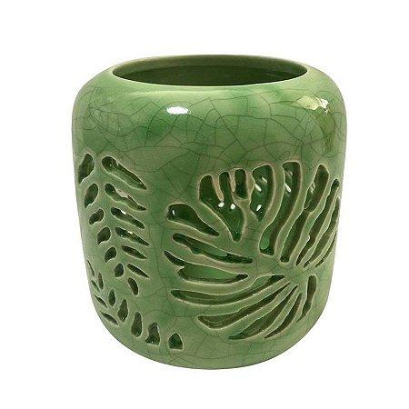 Castiçal Em Cerâmica Folhas de Adão Verde