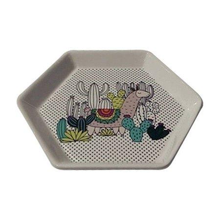 Prato Decorativo Hexagon Cerâmica Lhama e Cactus Verde