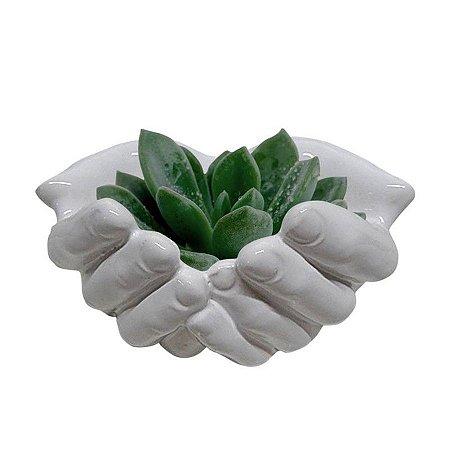 Cachepot Cerâmica Mão Aberta Branco Urban