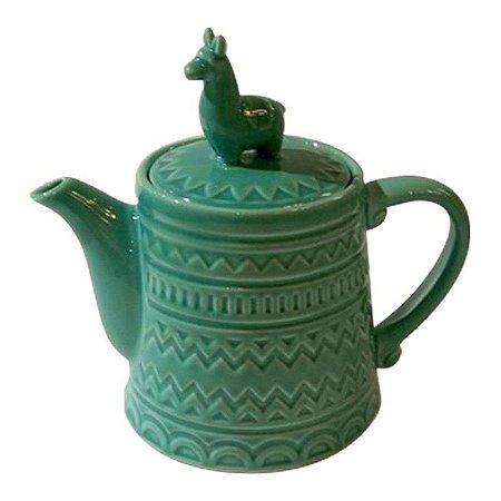 Bule Cerâmica Lhama Verde
