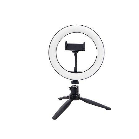 Ring Light 26cm Iluminador LED com Tripé de Mesa + Suporte Celular