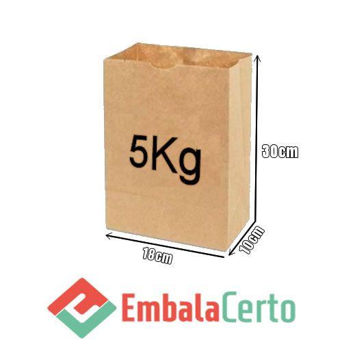 Saco de Papel Kraft para Delivery  5kg Embalacerto