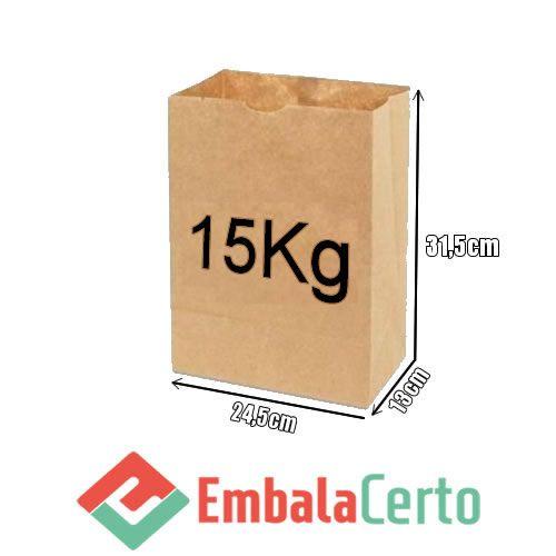 Saco de Papel Kraft para Delivery 15kg Embalacerto