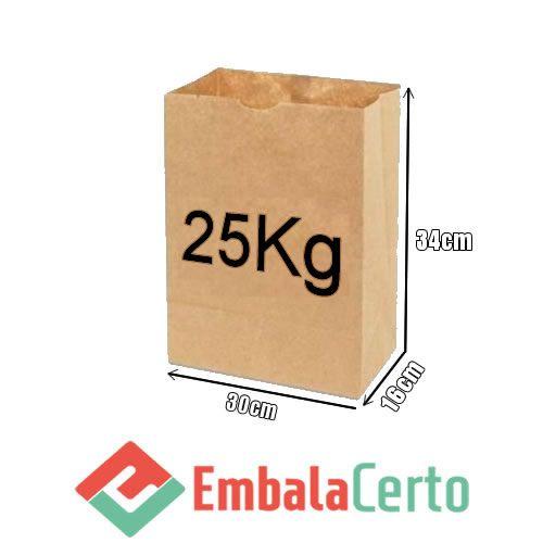 Saco de Papel Kraft para Delivery 25kg Embalacerto