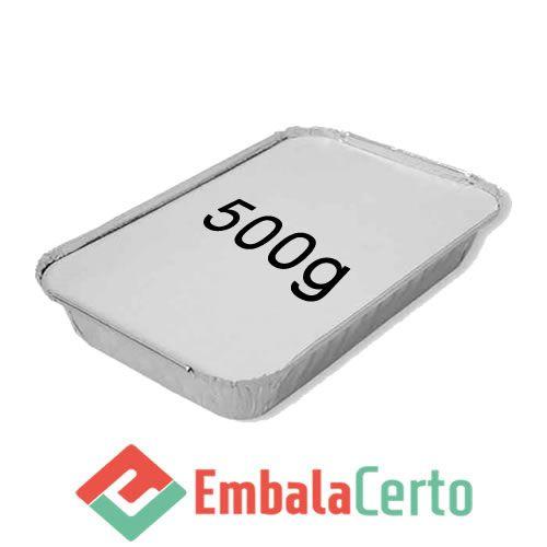 BANDEJA RETANGULAR ALUMÍNIO C/ TAMPA CARTÃO ALUMINIZADO 500G
