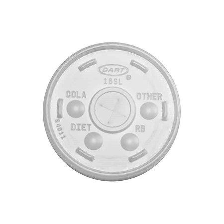TAMPA PLÁSTICA C/ FURO 16SL P/ COPO DE ISOPOR DE 500ML