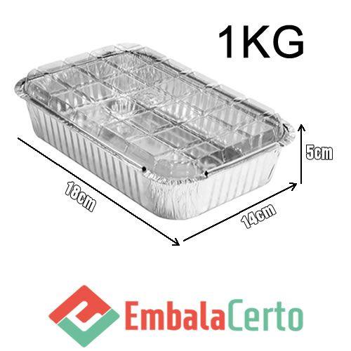 BANDEJA RETANGULAR ALUMÍNIO 1KG C/ TAMPA PLASTICA