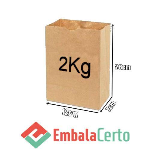 Saco de Papel Kraft para Delivery 2kg Embalacerto