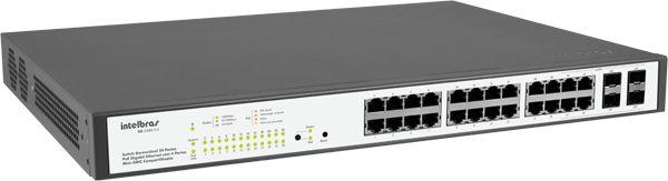 Switch 24 Portas 10/100/1000 4 Sfp Sg 2404 Poe Intelbras
