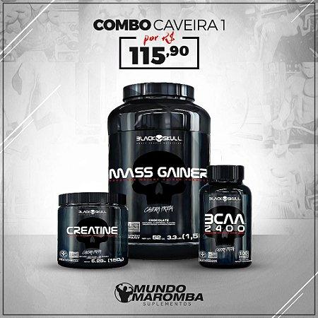 COMBO PARA GANHO DE MASSA BLACK SKULL - MASS GAINER 1,5KG + BCAA 100CAPS + CREATINA 150G