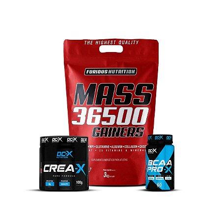COMBO FURIOUS: MASS 36500 GAINERS + CREA-X (100g) + BCAA PRO-X (60caps)