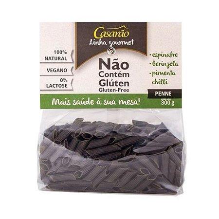 Massa Casarão sem Glúten Penne Espinafre Berinjela e Pimenta Chilli 300g