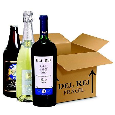 Box Misto - Vinho Del Rei com 6 Tinto Suave Bordo + 6 Espumante Vector Valentino Moscatel 750ml e Bordo + 6 Cerveja Valentina Pilsen 600ml - Box Com 18 Unidades