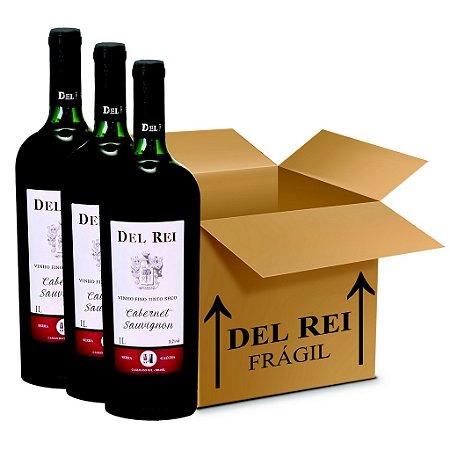 Vinho Del Rei Fino Tinto Seco Cabernet Sauvignon 1l - Box Com 18 Unidades