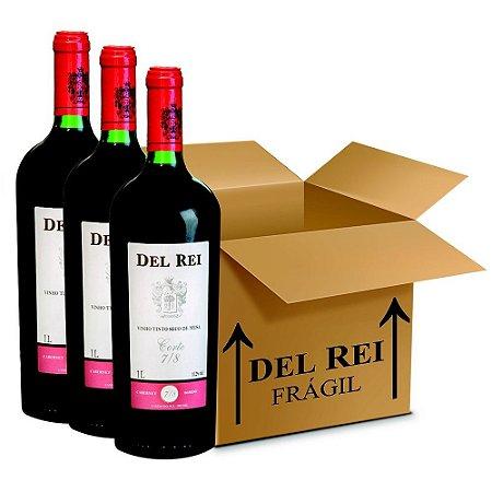 Vinho Del Rei Tinto Seco 7-8 Cabernet e Bordo 1l  - Box Com 12 Unidades