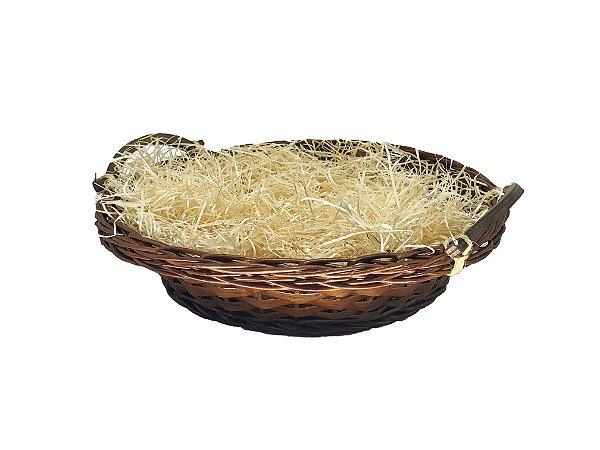 Bandeja redonda Grande com celofane e laço - ideal para 9 a 15 itens