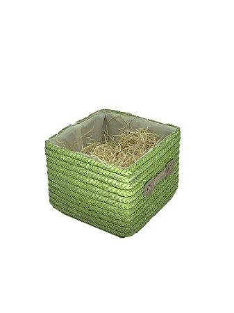 Caixa Verde quadrada Pequena com celofane e laço - ideal para 05 a 08 itens