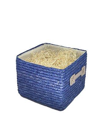 Caixa Azul quadrada Média com celofane e laço - ideal para 06 a 10 itens