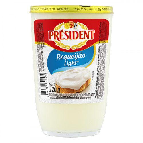 Requeijão Lihjt Copo Vidro President 220g