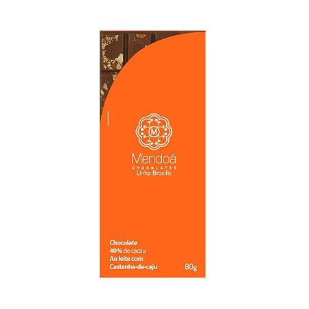 CHOCOLATE MENDOA 40% AO LEITE CASTANHA DE CAJU 80G