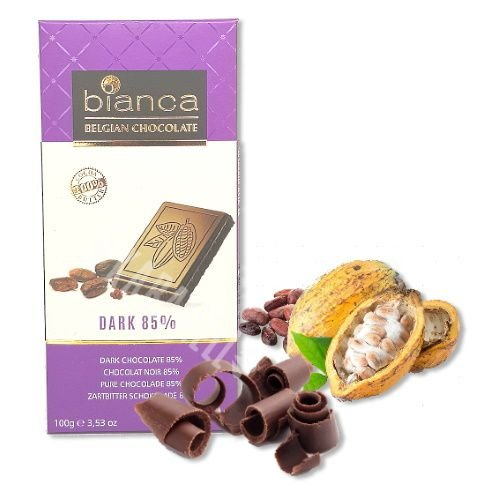CHOCOLATE BELGA DARK 85% BIANCA 100G