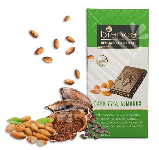 CHOCOLATE BELGA DARK ALMONDS 72% BIANCA 100G