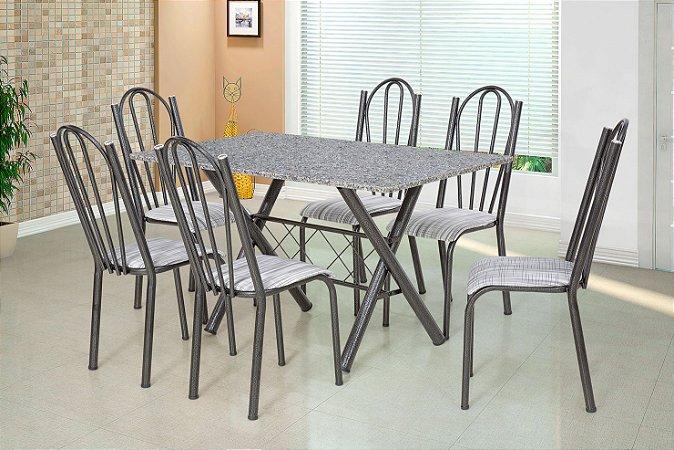 Conjunto De Mesa Artefamol Deise 6 Cadeiras Preta