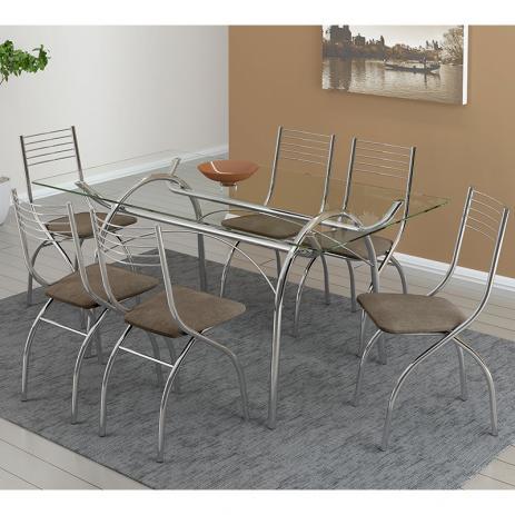 Conjunto De Mesa Carraro 379 Com 6 Cadeiras 146
