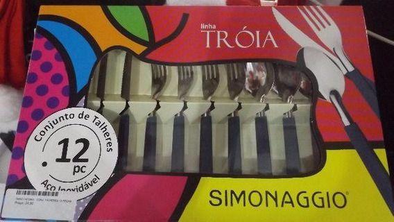 Faqueiro Simonaggio 12 Peças Troia azul