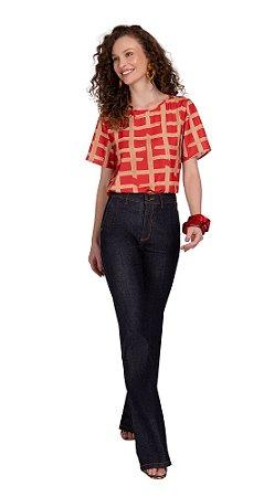 T-shirt Maria Valentina  Decote Redondo - Vermelho