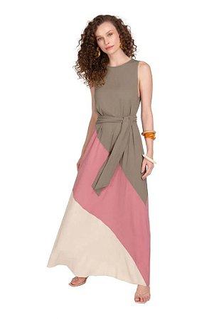 Vestido Maria.Valentina Longo Decote Redondo Com Faixa Verde