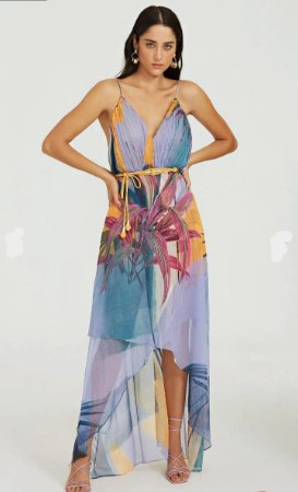 Vestido Morena Rosa Longo Decote V Plissado