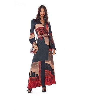 vestido morena rosa longo decote transpassado  cinto hb-03